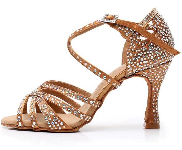 tanečné topánky s kamienkami hnedé