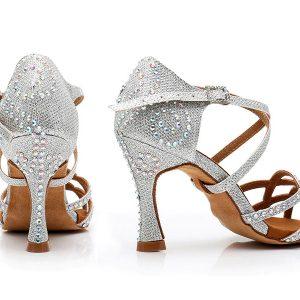 svadobné tanečné topánky strieborné s kamienkami