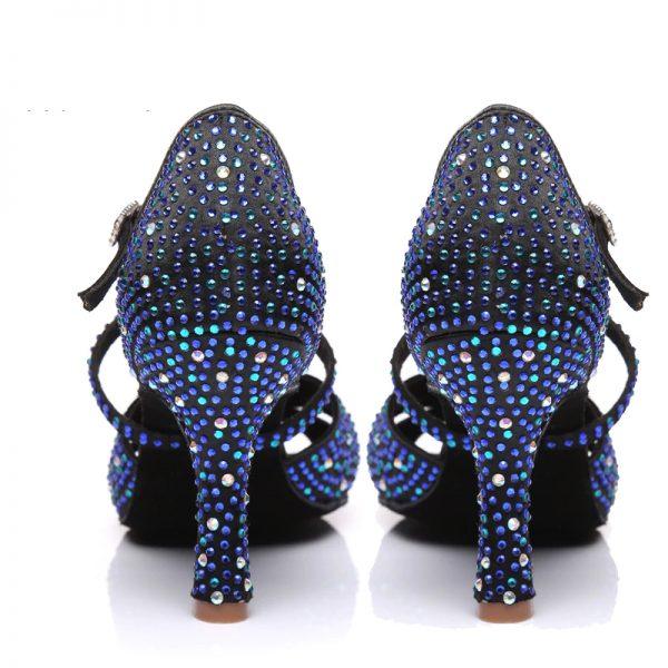 luxusné čierne tanečné topánky s kamienkami