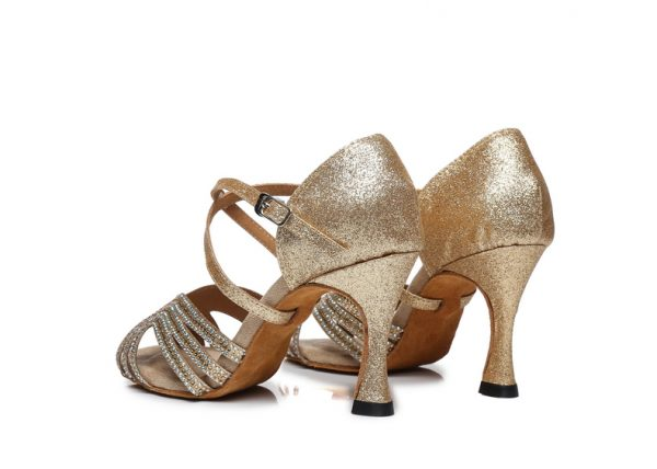 zlate tanecne topanky s kamienkami